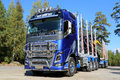 Fh volvo ocean race limited edition truck for timber haul raasepori finland september trucks introduces the in a specially Stock Photos