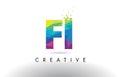 FI F I Colorful Letter Origami Triangles Design Vector.