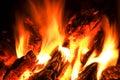 Fiamma e fuoco di accampamento di calore. Fotografia Stock