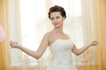 Fiancee vertical wedding portrait beautiful in white dress soft light Stock Photos
