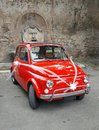 Fiat 500 with bows, Rome, Italy Royalty Free Stock Photo
