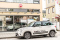 Fiat car new infront of a dealership Stock Image