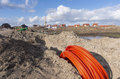 Fiber cable bundle orange on a construction site Stock Image