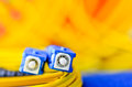 Fiber optic connectors close up on a colourful background. Royalty Free Stock Photo