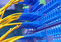 Fiber optical network cables patch panel Royalty Free Stock Photo