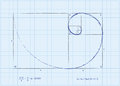 Fibonacci sequence also known as golden spiral basic formulas each illustrated sketch style Stock Photo