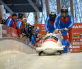 Fibt viessmann bobsleigh skeleton world cup sochi russia february on february in sochi russia center luge sanki team russia on Stock Photos