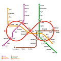 Fictional metro map in shape of infinity vector illustration Stock Images