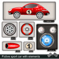 Fictive sport car with elements collection of a different Royalty Free Stock Photography