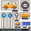 Fictive urban car with elements collection of a different Stock Photos