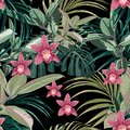 Ficus, palm leaves and pink orchid flowers seamless pattern, tropical foliage, branch, greenery