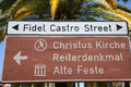 Fidel castro street road sign in windhoek namibia Royalty Free Stock Photo