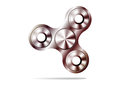 Fidget spinner icon - toy for stress relief and improvement of attention span. Filled silver metal