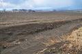 Field erosion by wind in open landscape ecology Stock Image