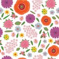 Field flowers on the white background - seamless pattern. Doodle cartoon floral endless background design. Vector illustration