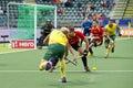 Field hockey action aus vs esp the hague netherlands june bosco perez pla fails to block australian attacker deavin passing to Royalty Free Stock Photo