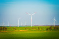 Field with wind turbines on filed in summer day Stock Image