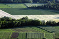 Fields on farmland beautiful view to the with peasant sown with different agricultural crops of wheat barley maize and other Royalty Free Stock Photo