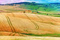 Fields with house in Tuscany landscape, Italy Royalty Free Stock Photo