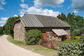 Fieldstone storehouse old granite in estonian countryside Royalty Free Stock Photography