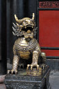 Fierce dragon guarding temple doors Royalty Free Stock Photography
