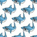 Fierce predatory swimming shark baring its teeth in a seamless repeat pattern in square format suitable for a nautical themed Stock Images