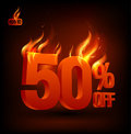 Fiery 50 percent off, sale background. Royalty Free Stock Images
