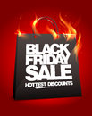 Fiery black friday sale design with shopping bag eps Stock Image