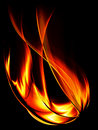 Fiery flame on a black background Royalty Free Stock Photo