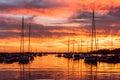 Fiery Lake Norman, North Carolina sunset Royalty Free Stock Photo