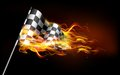 Fiery race flag illustration of fire flame in Royalty Free Stock Images