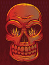 Fiery red skull with flames Stock Image