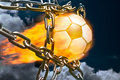 Fiery Soccer Ball and Metal Chains Royalty Free Stock Photo