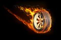 Fiery tyre illustration of fire flame in showing speed Stock Images