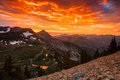 Fiery Wasatch Sunset Royalty Free Stock Photo