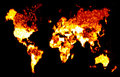 Fiery World Map Illustration Stock Photography