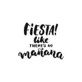 Fiesta like there`s no manana. Cinco de Mayo mexican hand drawn lettering phrase on the white background. Fun brush ink i
