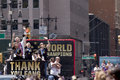 Fifa world cup champions us women national soccer team ticker tape parade u s s midfielder megan rapinoe center holdsing the Stock Photo