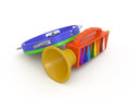 Fife and tambourine d toy music instruments Royalty Free Stock Photography