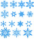 Fifteen blue snowflakes. Royalty Free Stock Images