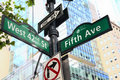 Fifth avenu new york city avenue and west nd street sign post Stock Photo