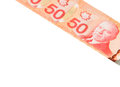 Fifty canadian dollars foreign currency over white background Royalty Free Stock Image