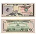 Fifty dollar bill on both sides. 50 US dollars banknote, from front and reverse side. Vector illustration of USD Royalty Free Stock Photo