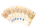Fifty euro bills seven in a spread over white background Royalty Free Stock Photo