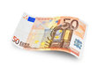 Fifty euro close up banknote on white background Stock Images