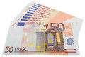 Fifty euro ten pieces of banknotes isolated on white background Royalty Free Stock Photo