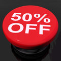 Fifty Percent Button Shows Sale Discount Or 50 Off Royalty Free Stock Photo