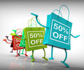 Fifty-Percent Off Bags Show Sales, Bargains, and Discounts Royalty Free Stock Images