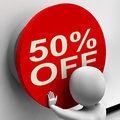 Fifty percent off button shows half price or showing Royalty Free Stock Photos