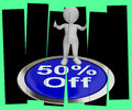 Fifty Percent Off Pressed Shows 50 Price Markdown Royalty Free Stock Photo